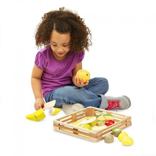 frutas madera corte niños educacion