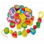 Juego de 26 unidades de animales de madera con cuentas de bloque de frutas juguetes