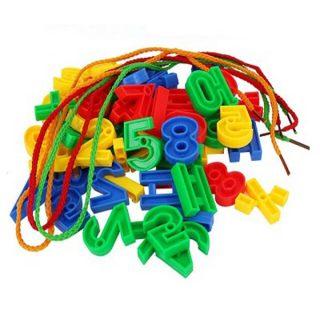 Juguetes de bloques geom tricos con numeros de plastico juego para enhebrar cuentas