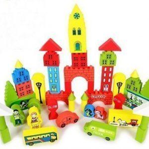 bloques de madera construccion castillo