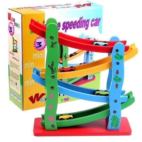 pista carros madera didactico niños