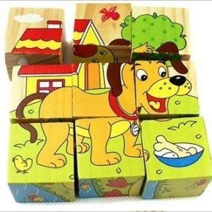 rompecabeza cubo seis lados animales variados